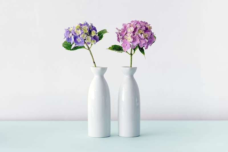 two milk glass vase with flowers1